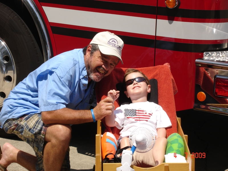 Max and Papa with fire truck small