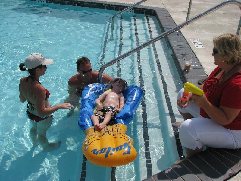 Max lounging at the pool